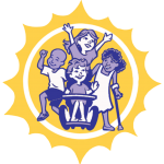 small Bennett's Village logo, children playing