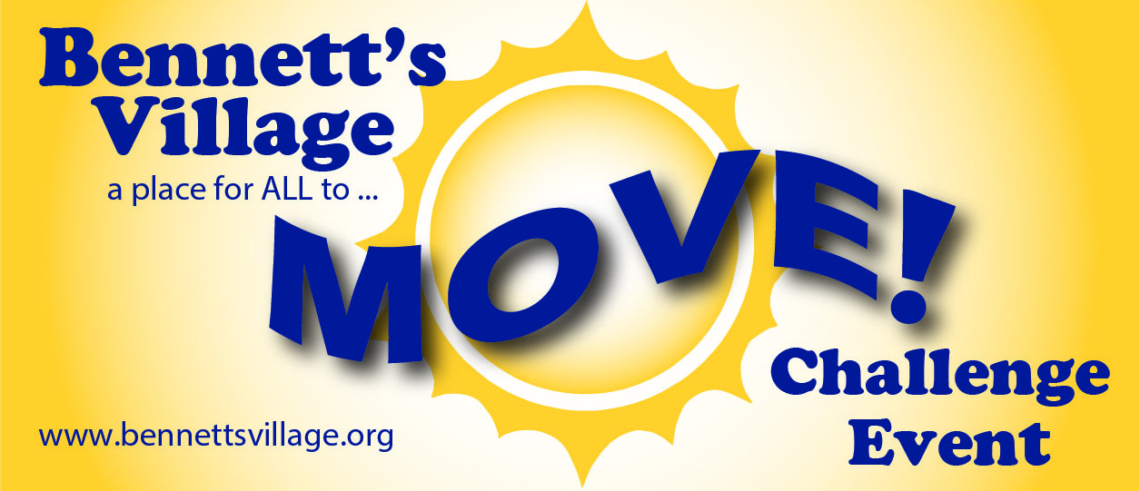Bennett's Village Move challenge event logo with yellow sun in the background