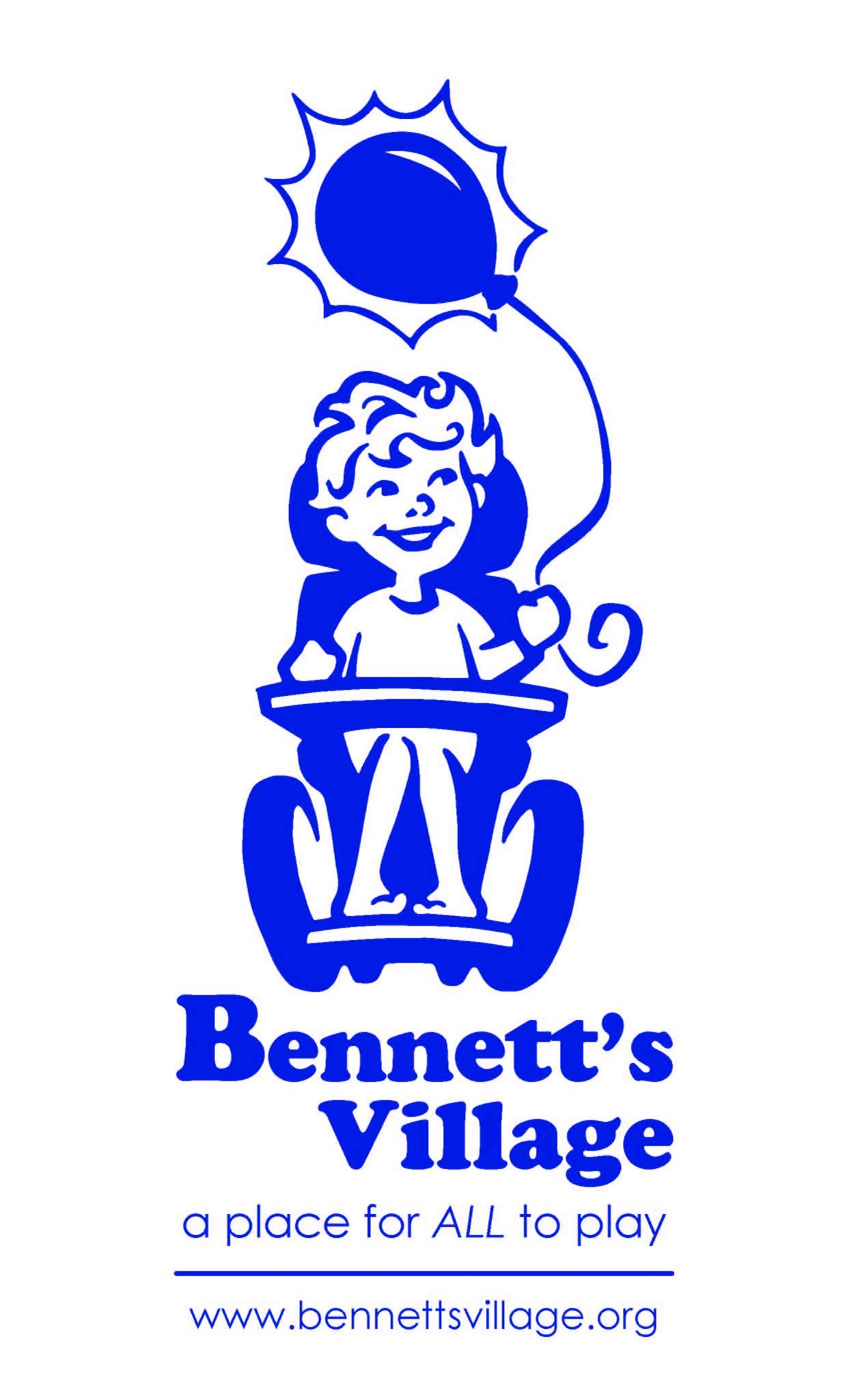 original Bennett's Village logo, child in chair with balloon