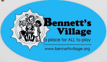 Magnet of Bennett's Village logo on turquoise background