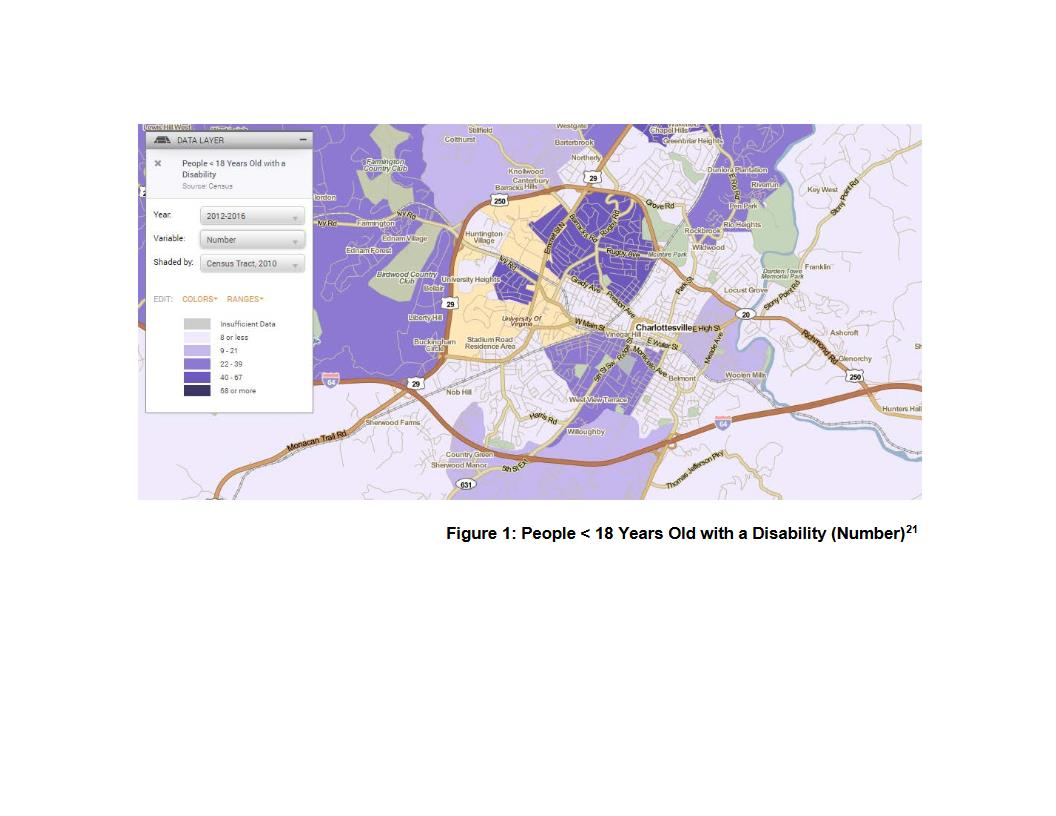 map showing percent of people under 18 with a disability 2012-2016 in the Charlottesville area