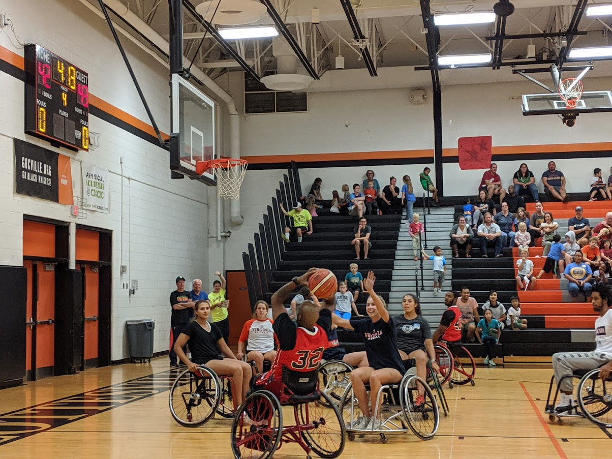 Cardinals Wheelchair Basketball team playing against UVA athletes and the Banks Collage Basketball Association