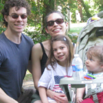 picture of Bennett and his family about to hike at Chris Greene Lake